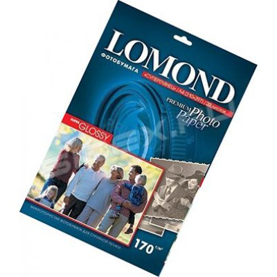 Фотобумага А4, одн, суперглянец яркий, 170г, 20л, (Lomond) 5760 dpi /1101101